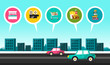 Vector Flat Design City with Cars on Street and Commercial Buildings Icons: Cinema, Supermarket, Fast Food, Library, Bookstore and Hotel.