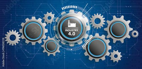 Fototapeta Industry 4.0 Futuristic Gear Wheels Circuit Board Banner obraz
