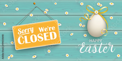 Fotografia, Obraz  Happy Golden Easter Eggs Daisy Wooden Closed Turquoise Header
