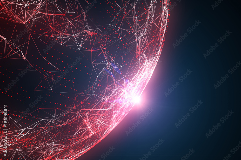 Fototapety, obrazy: Futuristic red colored abstract network globe with flare of light, view from space. Illustration background