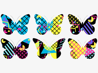 Fototapeta Motyle Set of butterflies with a memphis pattern made of geometric elements in the style of the 80s. Vector illustration
