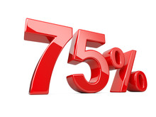Seventy Five Red Percent Symbol. 75% Percentage Rate. Special Offer Discount.