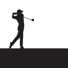 Silhouette Golfer Swinging Dri...