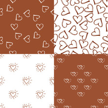 Set Of Seamless Pattern Backgrounds With Hearts. Orange Wallpaper. Wedding Or Valentine S Day. Vector Illustration.