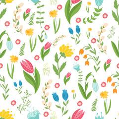 Easter concept seamless pattern. Cute folk flowers. Seamless pattern