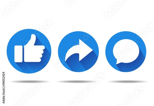 Fotografie, Tablou  Thumbs up and heart icon with repost and comment icons on a white background