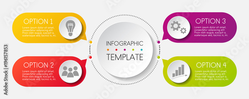 Photo  Template of colouful inforgaphic. Vector.
