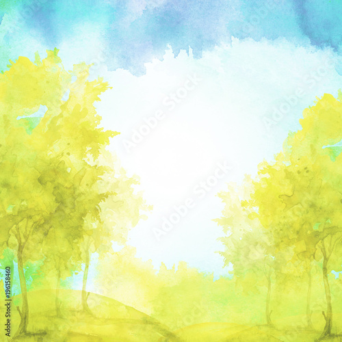 Montage in der Fensternische Gelb Watercolor banner, logo, postcard. yellow silhouette of the forest, birch, golden autumn, poplar, maple. Watercolor landscape, yellow, blue splash of paint, abstract spots, beautiful drawing.