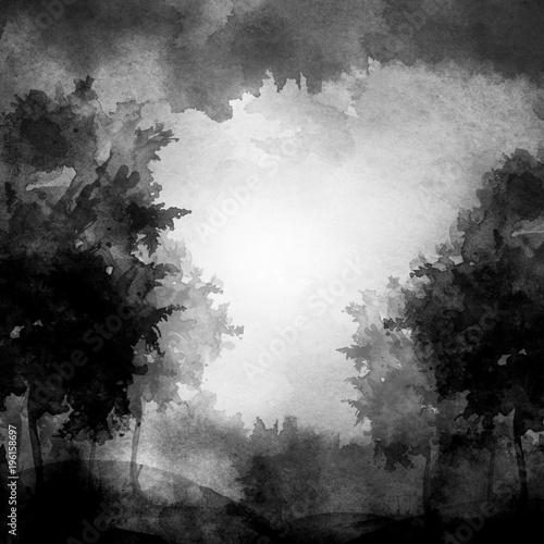 akwarela-transparent-logo-pocztowka-czarna-sylwetka-lasu-sosny-swierku-brzozy-topoli-klonu