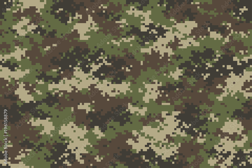 Fototapeta Woodland summer camouflage. Trendy style camo, repeat print. Vector illustration.