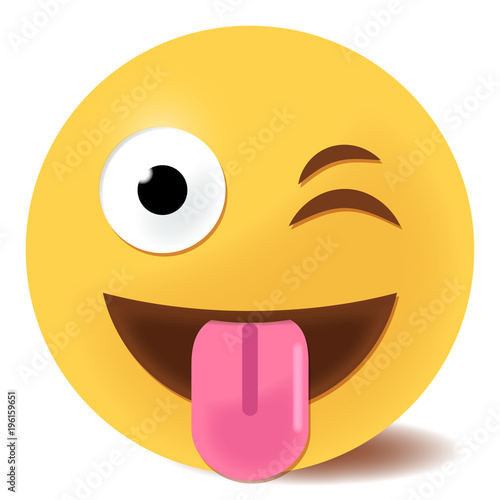 Carta da parati Rausstreckende Zunge Emoticon - 3D
