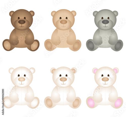 Teddy bear icon set vector #196162880