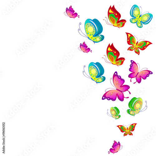 Poster Vogels, bijen beautiful pink butterflies, isolated on a white