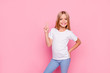 Leinwandbild Motiv Fun joy enjoy people person funtime concept. Portrait of cute lovely carefree confident sweet adorable beautiful girl in casual modern outfit demonstrating v-sign isolated on pink background
