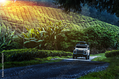 Photo  Traveling in the green mountains with off road vehicle
