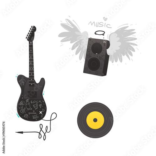 Vector flat music symbols set  Electric guitar, loudspeaker with