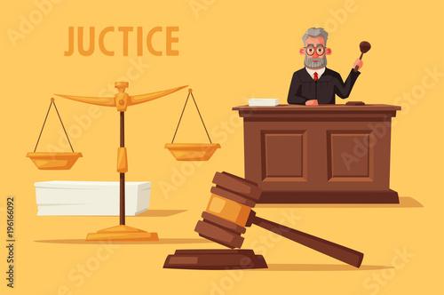 Photo Judge character with hammer. Cartoon vector illustration