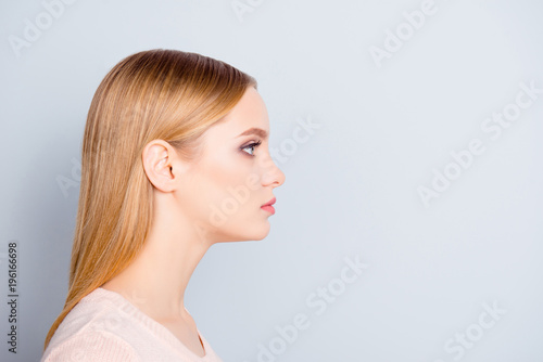 Valokuva  Half-faced profile side view close up portrait of serious confident focused conc