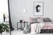 Leinwanddruck Bild - Poster in pink bedroom interior