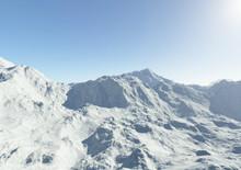 Alpine Snowy Mountains.Fractal...