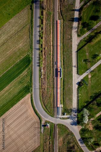 Fototapeta Aerial view of railroad tracks   obraz na płótnie