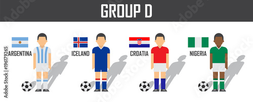 245a618db Soccer cup 2018 team group D . Football players with jersey uniform and national  flags . Vector for international world championship tournament