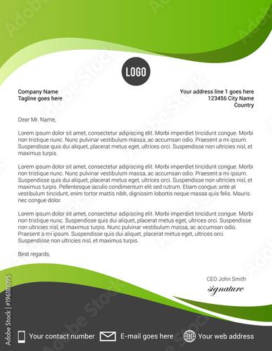 Fototapeta Green and black modern letterhead template obraz