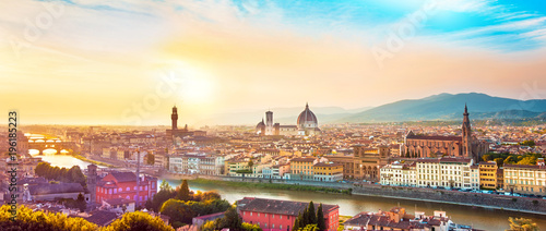 Aluminium Prints Florence Beautiful magical optimistic landscape fabulous panoramic view of Florence from Michelangelo Square in in sunset. It is a pilgrimage of tourists and romantics. Duomo Cathedral. Italy, Tuscany.