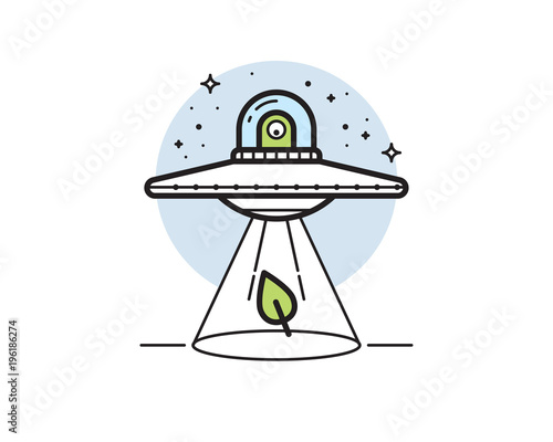 Canvas Print Unidentified flying object (UFO) vector illustration