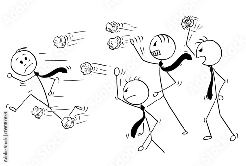 Photo Cartoon stick man drawing conceptual illustration of businessman running away from group of angry business people or coworkers throwing crumpled paper balls