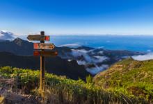 Signboard Pico Ruivo In Madeira Portugal