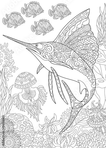 Coloring Page For Adult Colouring Book Underwater Background With