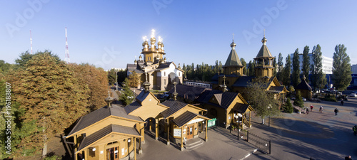 Poster Monument Russian wooden Orthodox church.