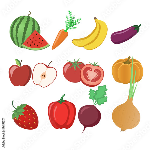 Foto op Aluminium Pixel A set of fruits and vegetables