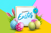 Vector Illustration Of Happy Easter Holiday With Painted Egg, Rabbit Ears And Flower On Colorful Background. International Spring Celebration Design With Typography For Greeting Card, Party Invitation