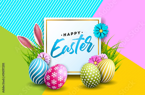 Vector Illustration of Happy Easter Holiday with Painted Egg, Rabbit Ears and Flower on Colorful Background Canvas Print