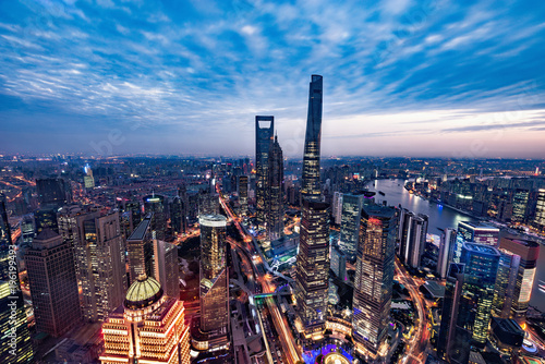 Foto op Aluminium Nacht snelweg Aerial view of Shanghai city center at sunset time.