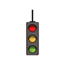 Cartoon Hanging Traffic Semaphore With Three Colorful Lamps. Road Control Device With Red, Yellow, Green Lights. Flat Vector Design For Infographic Or Educational Book