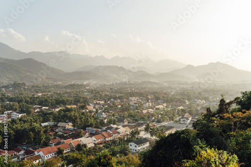 Louang Prabang aerial view at sunset, Laos