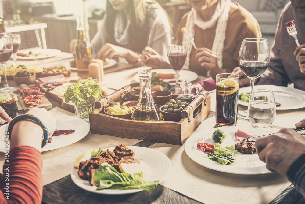 Fototapety, obrazy: Group of people having meal togetherness dining