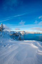 Winter Forest Crater Lake Snow...