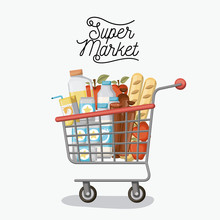 Supermarket Colorful Poster With Shopping Cart With Foods And Drinks Vector Illustration