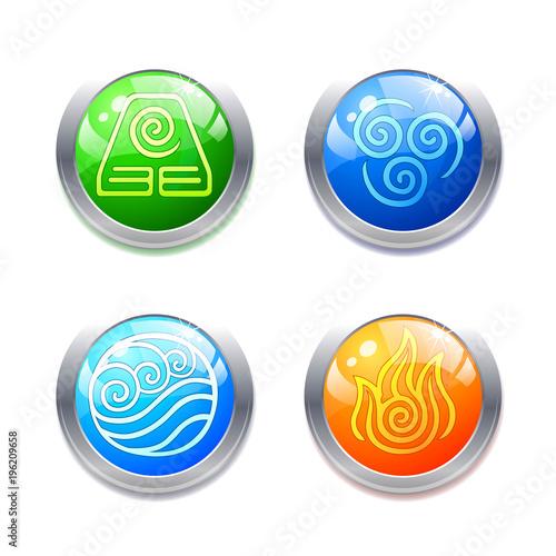Four Elements Symbols And Alternative Energy Icons On White