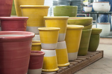 Closeup Of Colorful Ceramic Po...