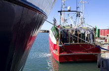 Laesoe / Denmark: Stern Trawler In The Fishing Port Of Oesterby Havn On A Sunny Day In August