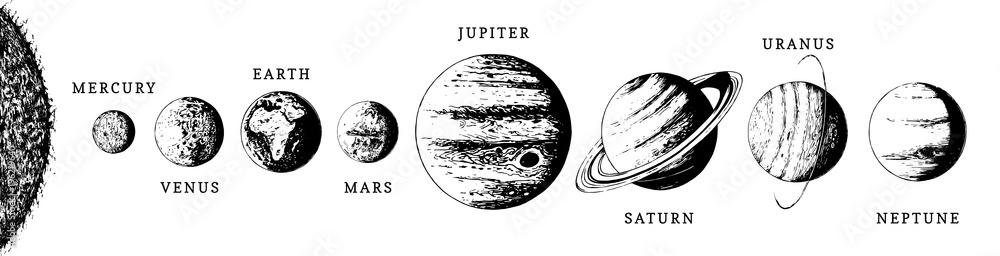 Fototapeta Solar system infographics in vector. Hand drawn illustration of eight planets