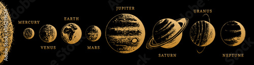 Fotomural Solar system infographics in vector