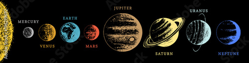 Foto Solar system infographics in vector