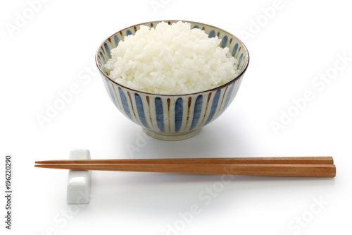 gohan, cooked white rice, japanese staple food isolated on white background Canvas Print