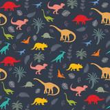 Fototapeta Dinusie - Seamless pattern with dinosaur silhouettes.